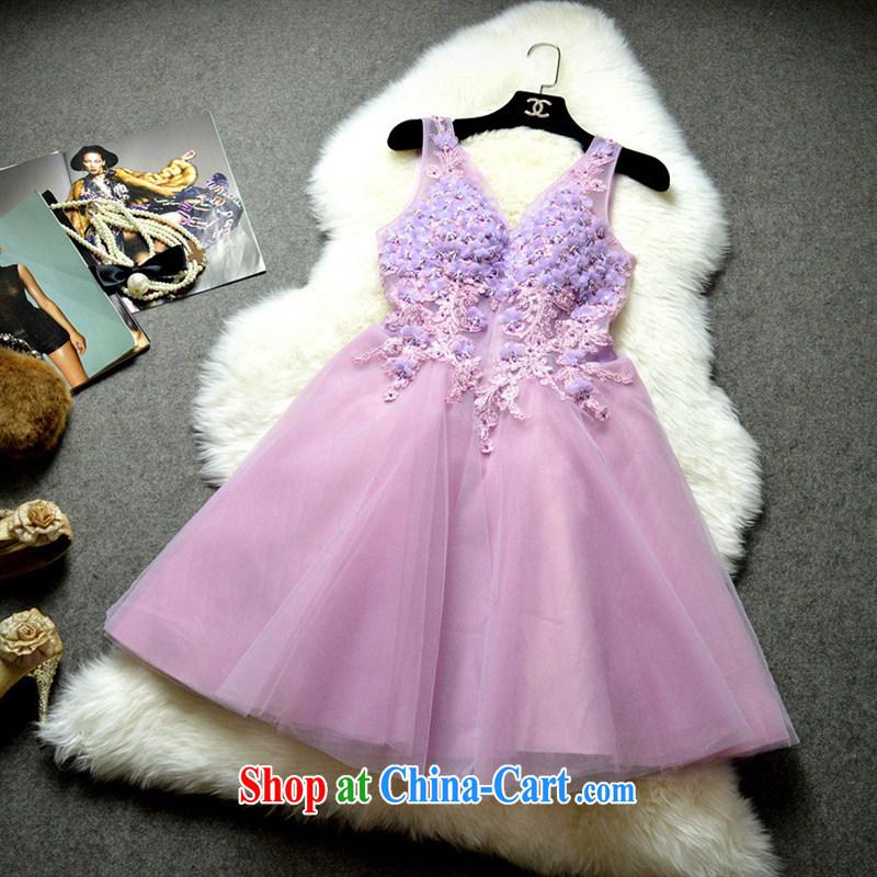 2015 New Name yuan style bridal bridesmaid PATA V collar decals nail Pearl shaggy dress skirt 122,504 white XL
