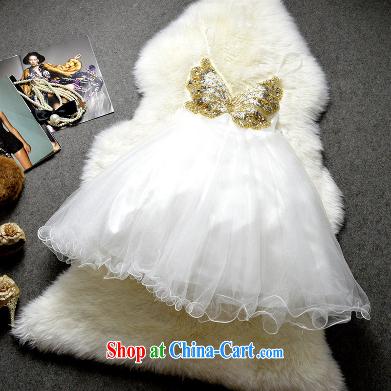 Name yuan style low-chest short, small dress sexy back exposed nails drill butterfly shaggy dress reception dress skirt 122,510 white L