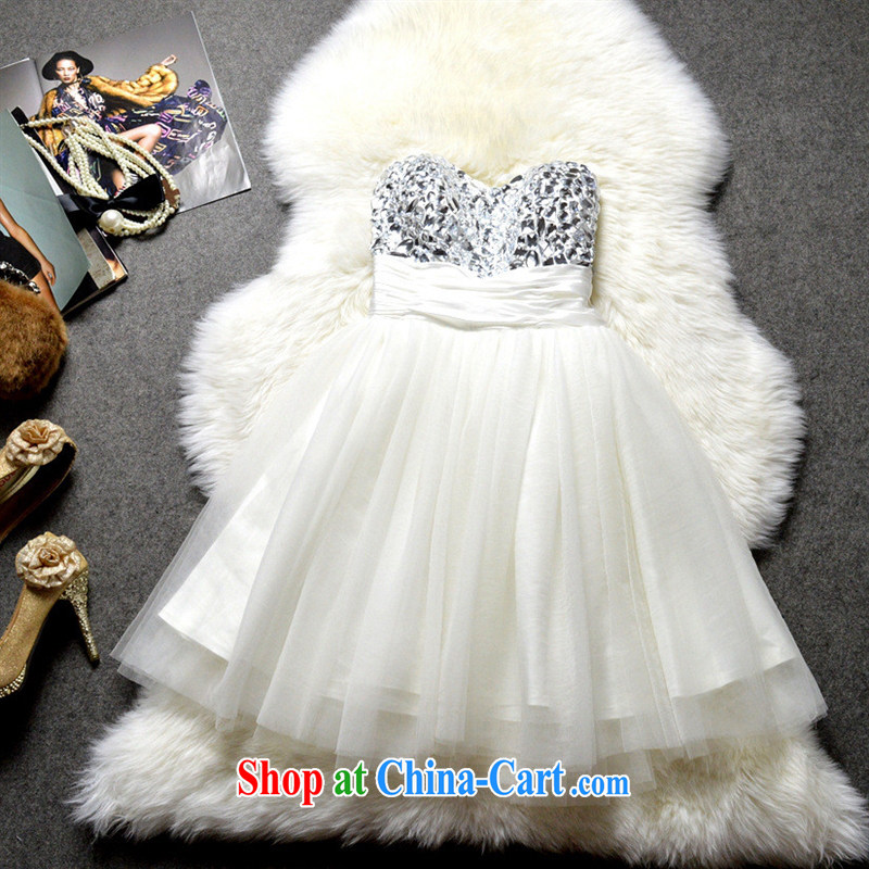 2015 boutique dress European and American name yuan style manually staple drill erase chest Princess skirt stays shaggy dress skirt JC 1299 white XL