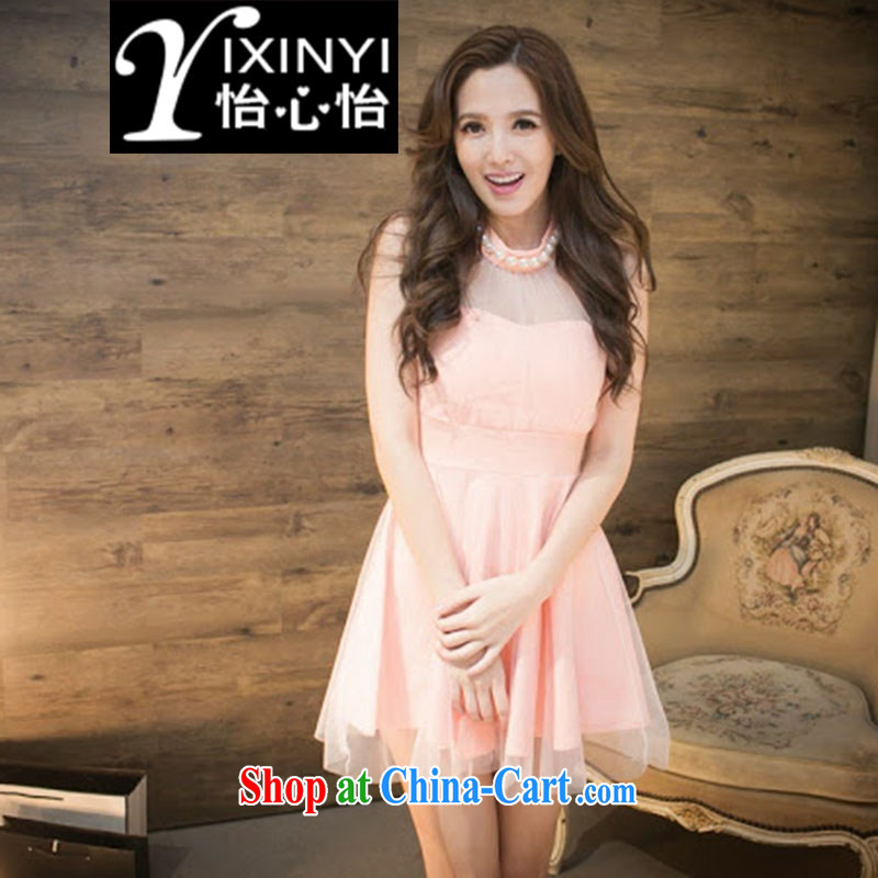 Yi Hsin Yi 2015 evening dress is also covered shoulders shaggy dress Princess European root yarn bridesmaid clothing sexy solid dress pink S