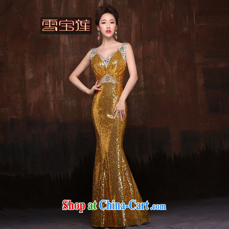 Snow Lotus bows dress new stylish marriages summer shoulders, cultivating red crowsfoot long gold XL