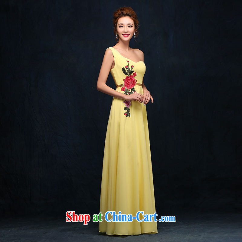 Evening Dress long, 2015 new winter toast, Service Bridal Fashion yellow wedding banquet the shoulder the dress yellow XL
