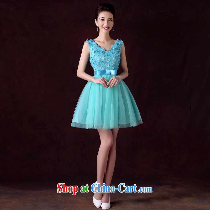 Serving a good solid Evening Dress 2015 new spring and summer Ms. stylish bridesmaid dress sister dress bridesmaid serving short ice blue 2XL