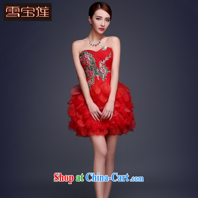 Snow Lotus cultivating bows dress wedding dress standard manual embroidery bridal toast service beauty long dress personal photo album hosted dress red smears, breast S