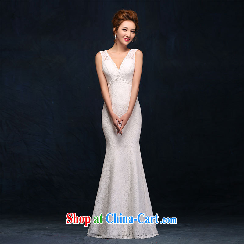 According to Lin Sha shoulders V collar wedding dresses lace new sexy back exposed crowsfoot bridal wedding white beauty graphics thin dress white L