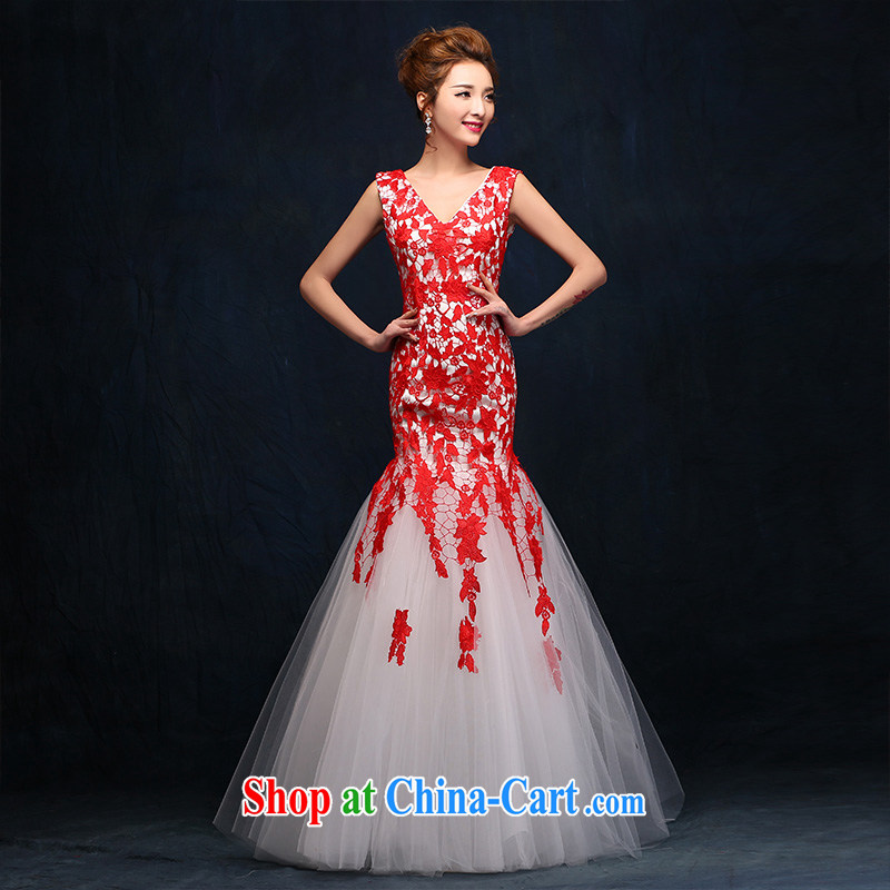 According to Lin bows her Service Bridal Fashion Evening Dress Korean red lace crowsfoot wedding dress long evening dress 2015 New Red will bind with