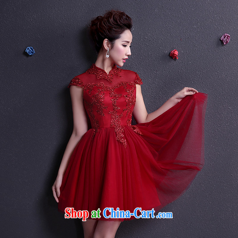 The woman bows Service Bridal Fashion 2015 Evening Dress short, cultivating graphics thin wall also married dresses spring and summer wine red XXL
