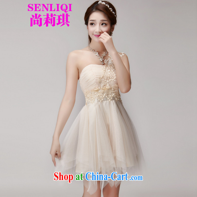 #2015 summer new stylish bridesmaid dresses in banquet dress sister dress short small dress bridesmaid clothing women's clothing 988 apricot L