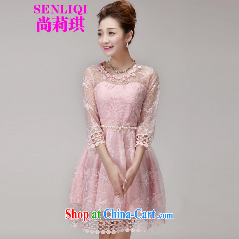 There is Li Qi 2015 summer New staple-ju beauty Princess dress dress champagne color erase chest bridesmaid sister serving as small dress girls 996 pink L