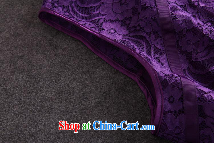 Qin Qing store 2015 festive Red name Yuan bows dress European site lace lapel sleeveless long dress purple XL pictures, price, brand platters! Elections are good character, the national distribution, so why buy now enjoy more preferential! Health