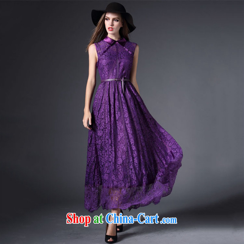 Qin Qing store 2015 festive Red name Yuan bows dress European site lace lapel sleeveless long dress purple XL