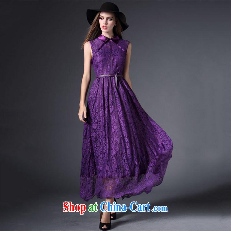 Qin Qing store 2015 festive Red name Yuan bows dress European site lace lapel sleeveless long dress purple XL