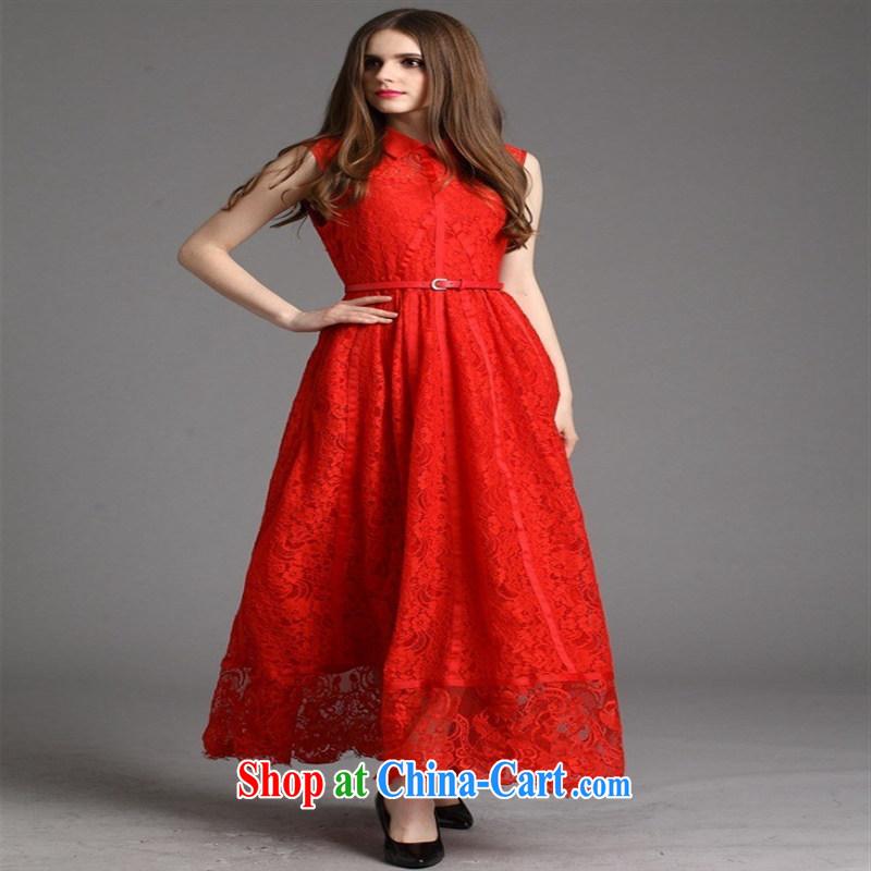 Qin Qing store 2015 festive Red name Yuan bows dress European site lace lapel sleeveless long dress purple XL, GENYARD, shopping on the Internet