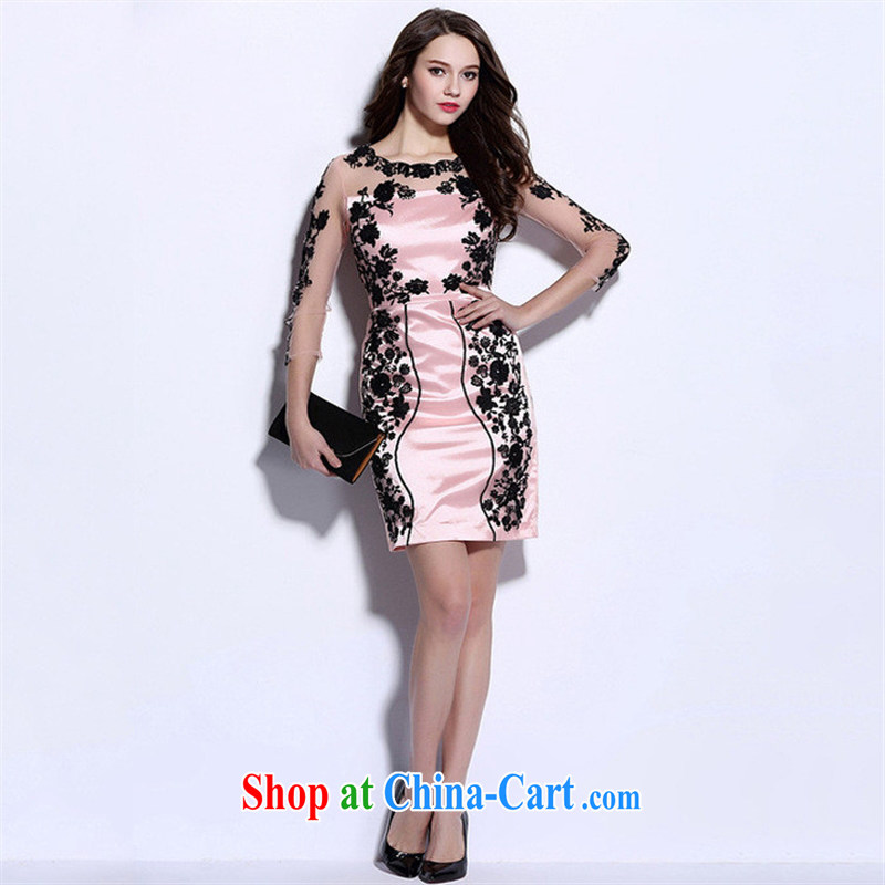 Qin Qing store 2015 European site spring and summer sexy female Web yarn staple Pearl embroidered evening gown men women dress light pink XL