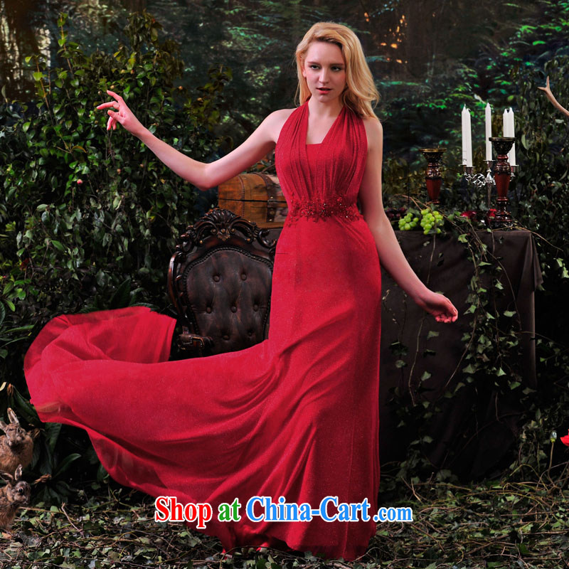 full court-fang 2015 spring and summer New Red double-shoulder bridal toast serving graphics thin wedding dress long L 865 red 173 - M