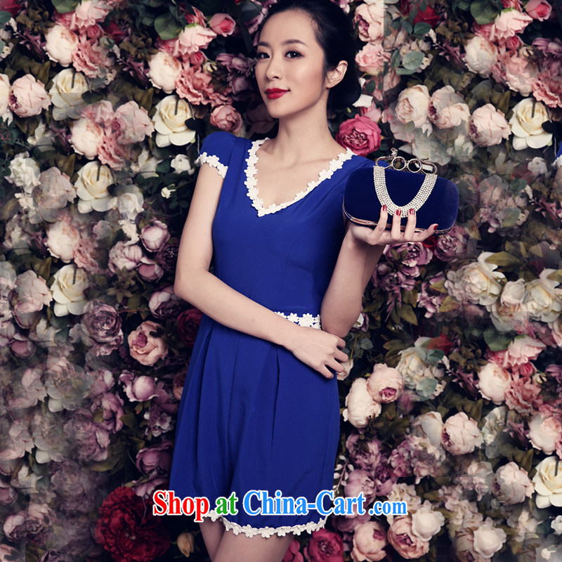 Miss ord 2015 summer new blue clothes youthful beauty and stylish girl with a fresh dress blue L