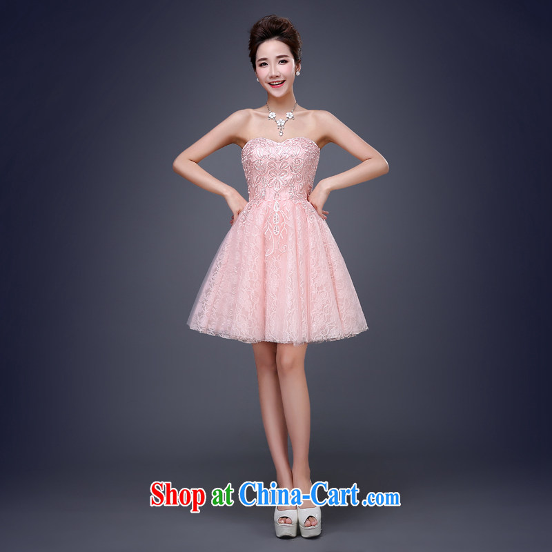 Cheng Kejie MIA 2015 new lace wedding dresses small short Evening Dress skirt performances serving toast bridesmaid dress bare pink XXXL