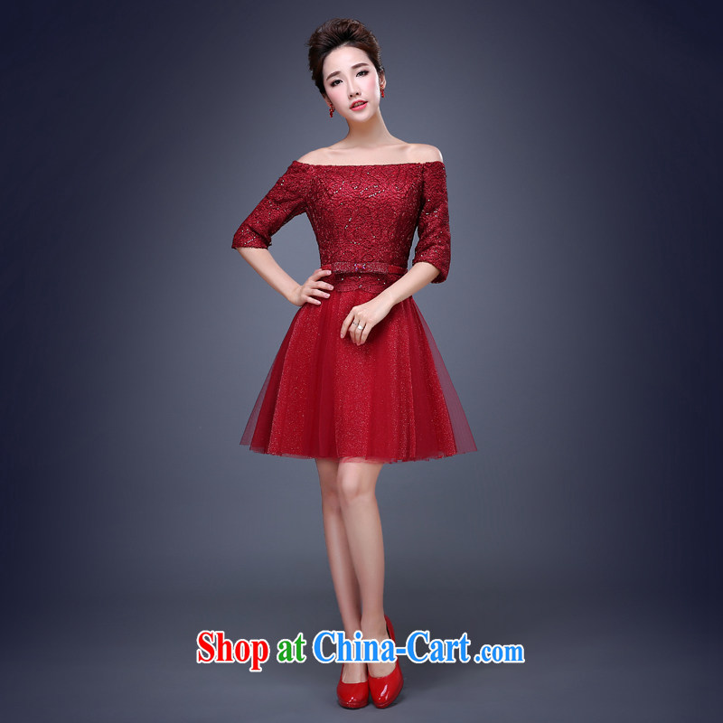 Jie MIA spring 2015 new lace wedding dresses small short evening dress skirt show bridal toast clothing bridesmaid dress dark red XXXL