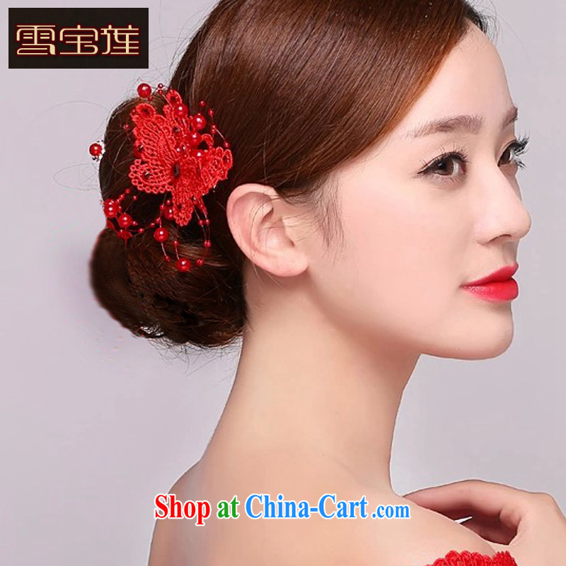 Snow Lotus bridal red head-dress Korean-made manually and take the international marriage with wedding butterfly hairclips jewelry red are code