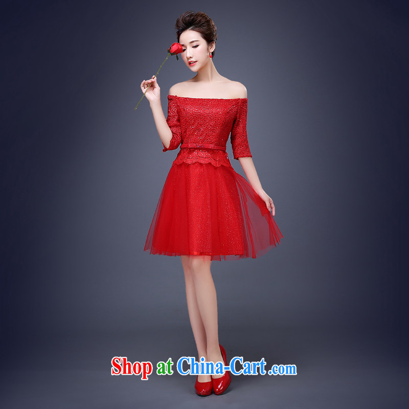 Jie MIA bridal dresses serving toast spring 2015 new stylish Red Beauty tie banquet dress long, short, short XXXL