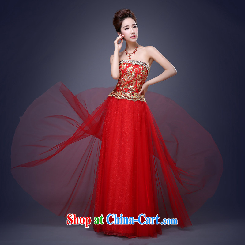 Jie MIA 2015 new stylish length, red embroidered bridal toast serving moderator performance service beauty banquet dress long XXL