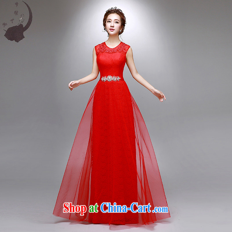 Dream of the day wedding dresses summer 2015 new marriages red long double shoulder bows dress 8025 red tailored