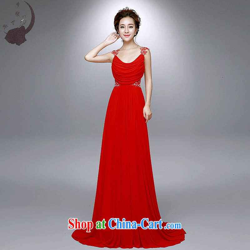 Dream of the day wedding dresses summer 2015 new marriages double-shoulder-length, small tail bows dress 8022 red tailored