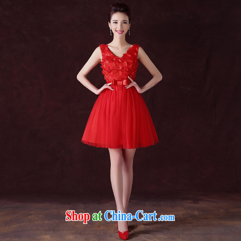 A good service is a bride's toast clothing spring and summer red small wedding dress Chinese Dress stylish evening dress short red 2 XL