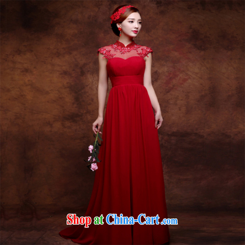 Wei Qi 2015 new summer red wedding dresses pregnant women high waist long bows Service Bridal Fashion dress sense of the Code Red wine XXL