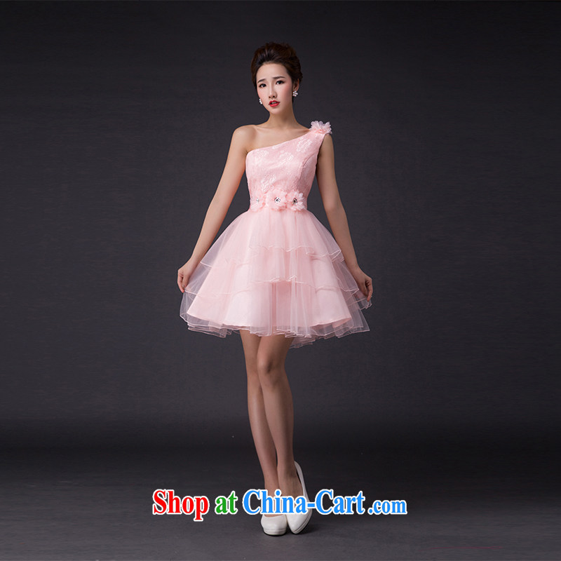 Hi Ka-hi 2015 new bows dress Korean edition shoulder shoulders bare chest dress the Annual Dinner Show dress skirt P 010, pink a shoulder XXL