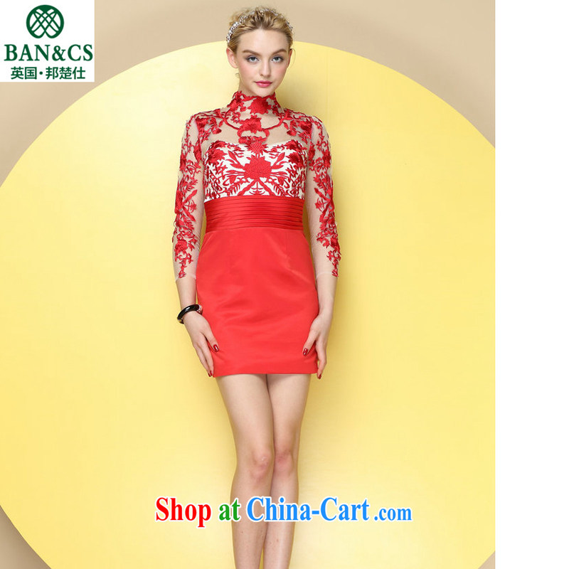 China wind knotting exquisite embroidery sexy fluoroscopy stylish stitching short dress red L