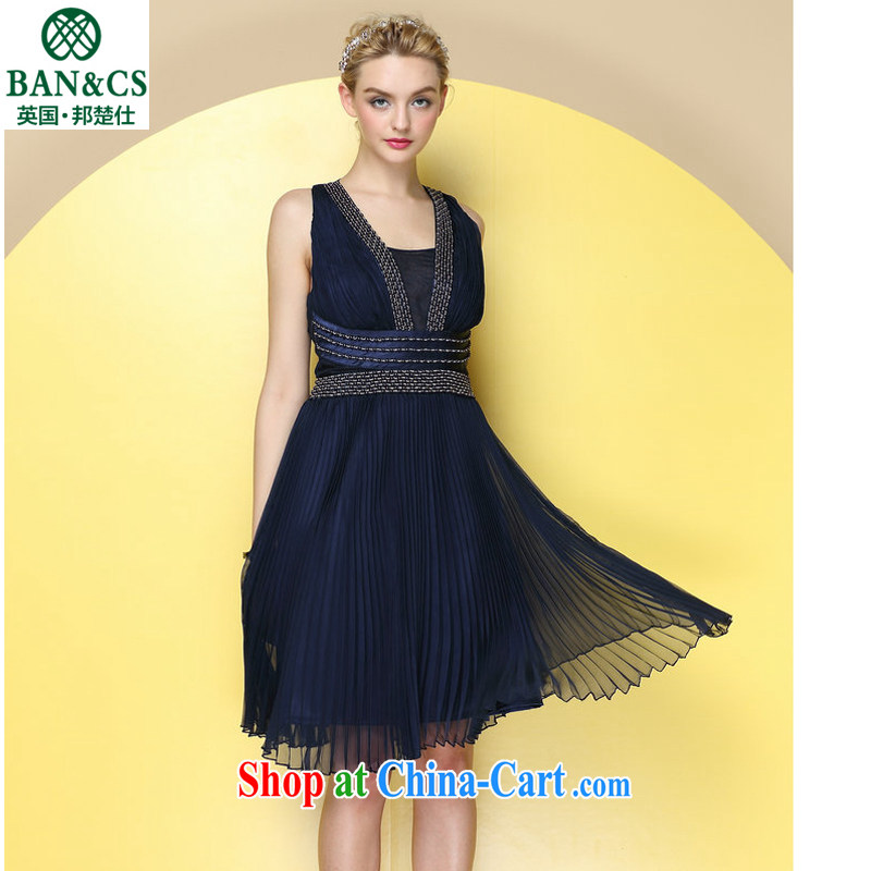 High-end quality to the staple-ju fine crop organ wrinkled hanging back elegance dress dress dark blue s