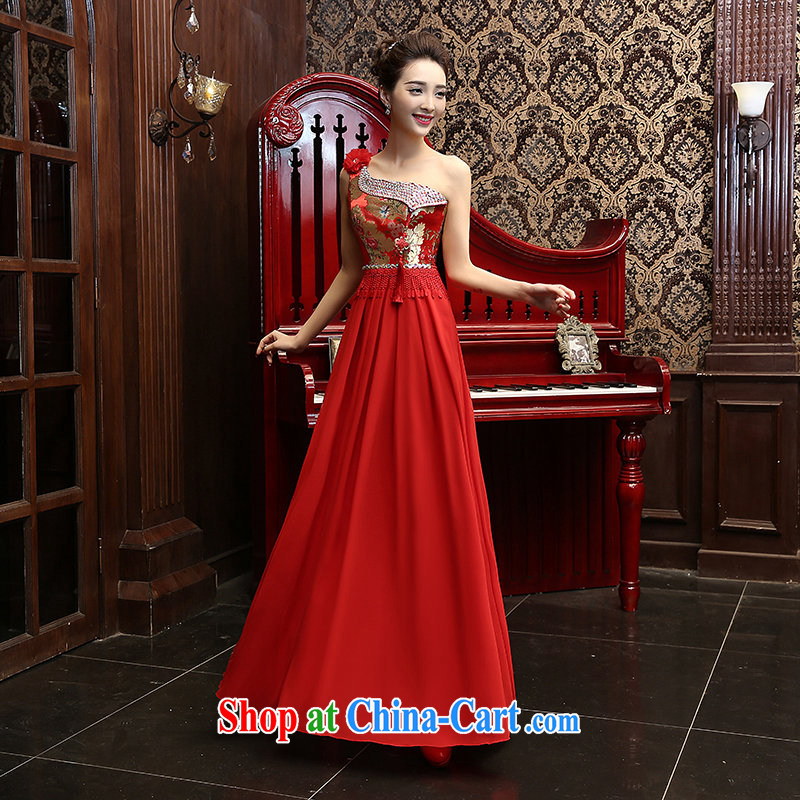 New 2015 Long Red single shoulder graphics thin bows dress bridal wedding wedding dresses the wedding dress red XL