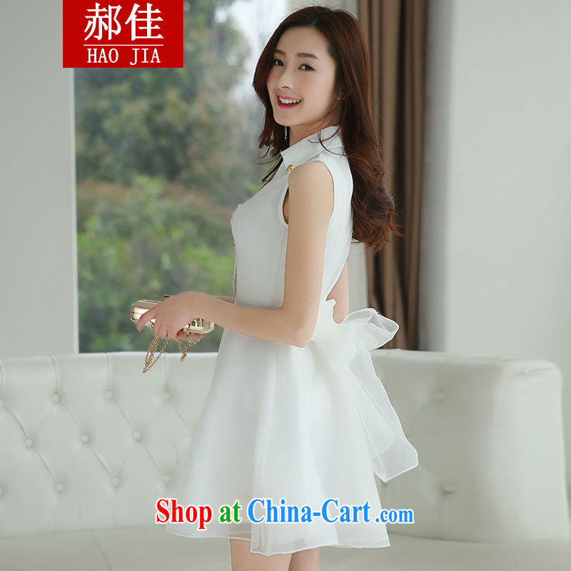 Hao better sweet dresses 2015 spring and summer dress OL aura white fairy dress bow tie dress skirt white XL