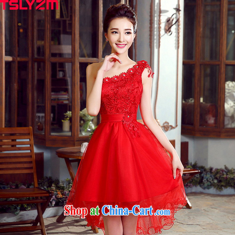 Tslyzm bridal toast serving the betrothal wedding dress single shoulder the short, long, floral lace hook flowers 2015 spring and summer New Evening Dress Red Red M