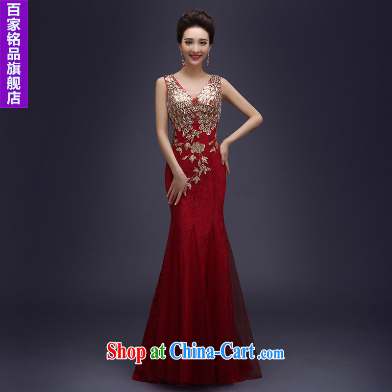 Evening Dress wedding toast serving evening summer 2015 new marriages served toast long lace shoulders bridesmaid dress banquet dress wine red XXL