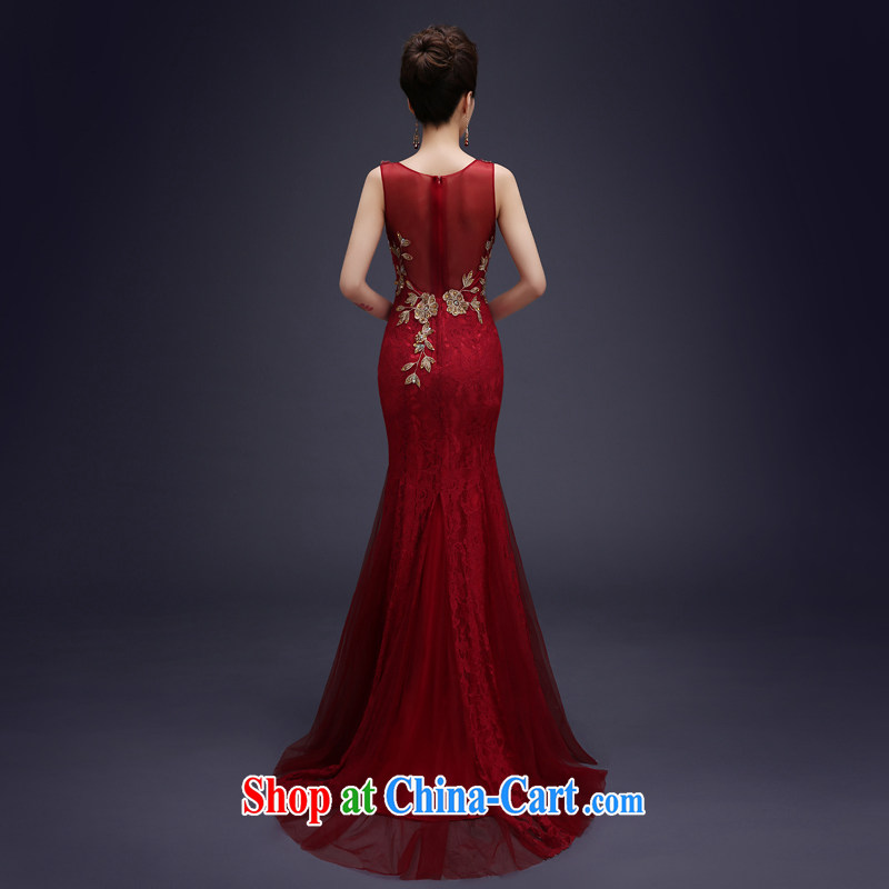 Evening Dress wedding toast serving evening summer 2015 new marriages served toast long lace double-shoulder bridesmaid dress banquet dress wine red XXL, 100 Ka-ming, and shopping on the Internet