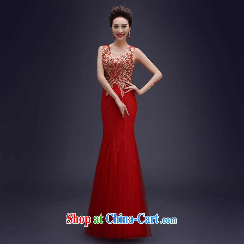 Evening Dress wedding toast clothing Evening Dress 2015 new bride summer crowsfoot long lace beauty bridesmaid service upscale banqueting evening dress female Red M