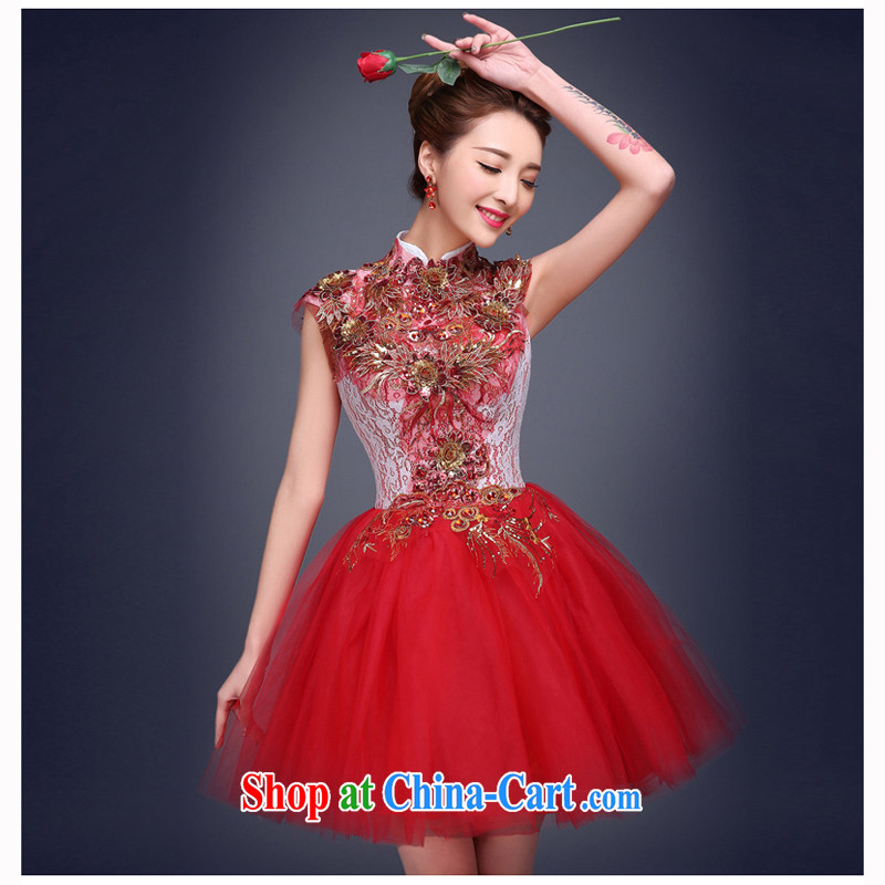 珪 Keun Evening Dress 2015 new Bridal Fashion short beauty evening banquet small dress wedding toast dress uniform female Red XXL code from Suzhou shipping