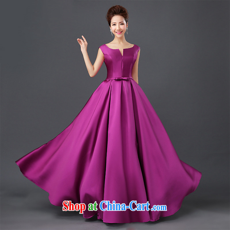 Moon ? guijin banquet dress 2015 new dual-shoulder-length, satin small dress bridal dresses wedding toast service spring and summer, Purple XXL code from Suzhou shipping
