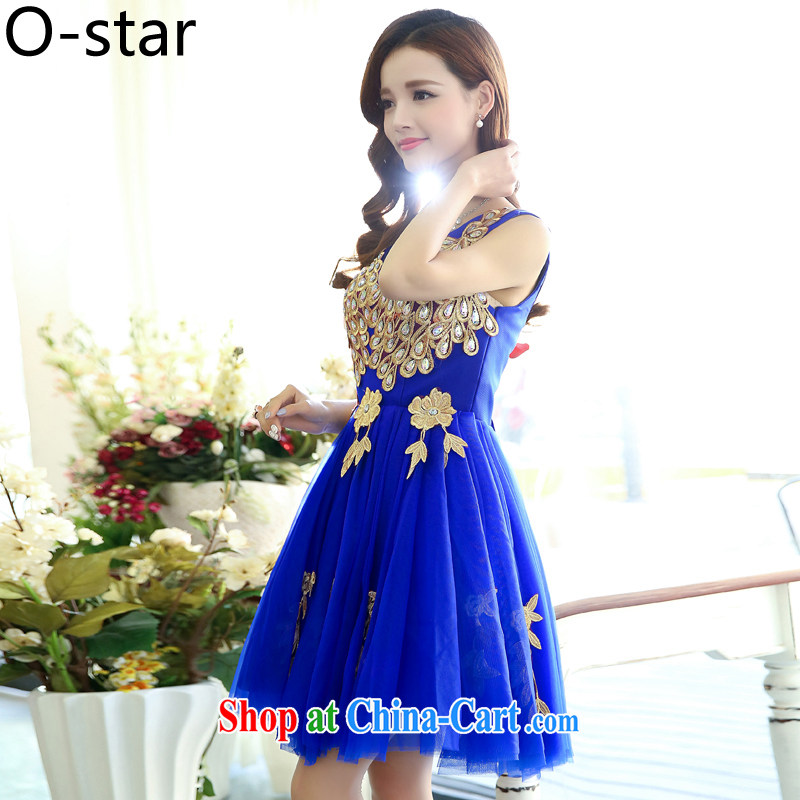 O - Star 2015 summer edition won the long sleek sleeveless V collar Peacock shaggy skirt evening dress skirt wedding dress uniform toast royal blue S