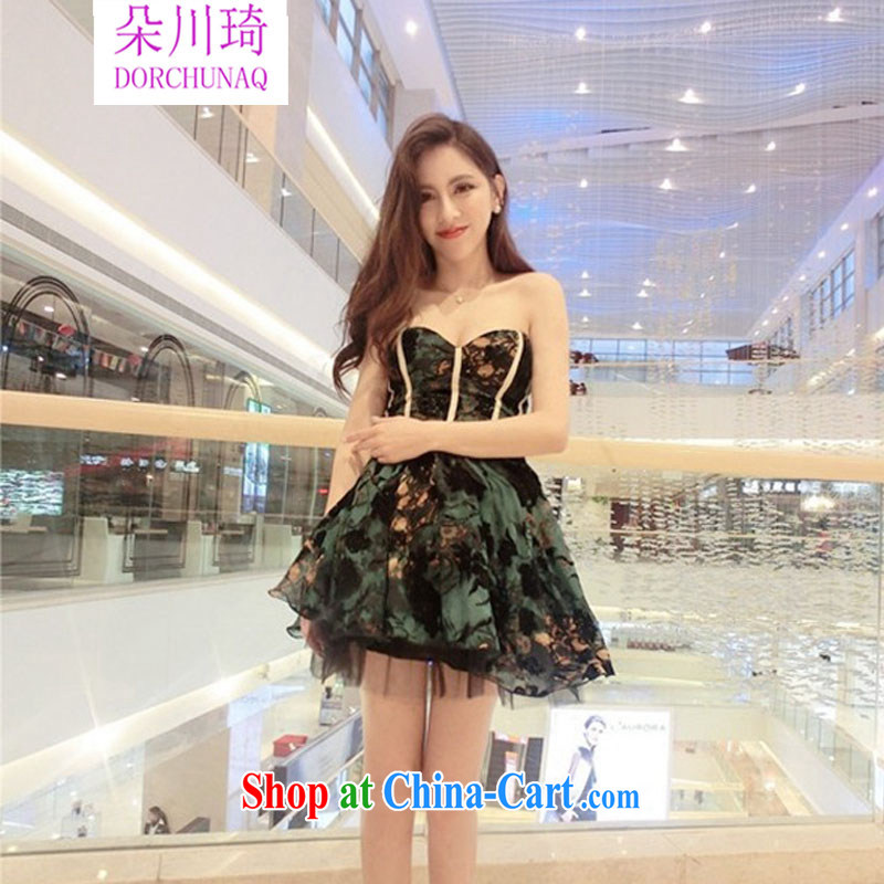 Flower Kawasaki 2015 new Korean genuine name-yuan lady high-end high-quality waist bare chest shaggy small dress