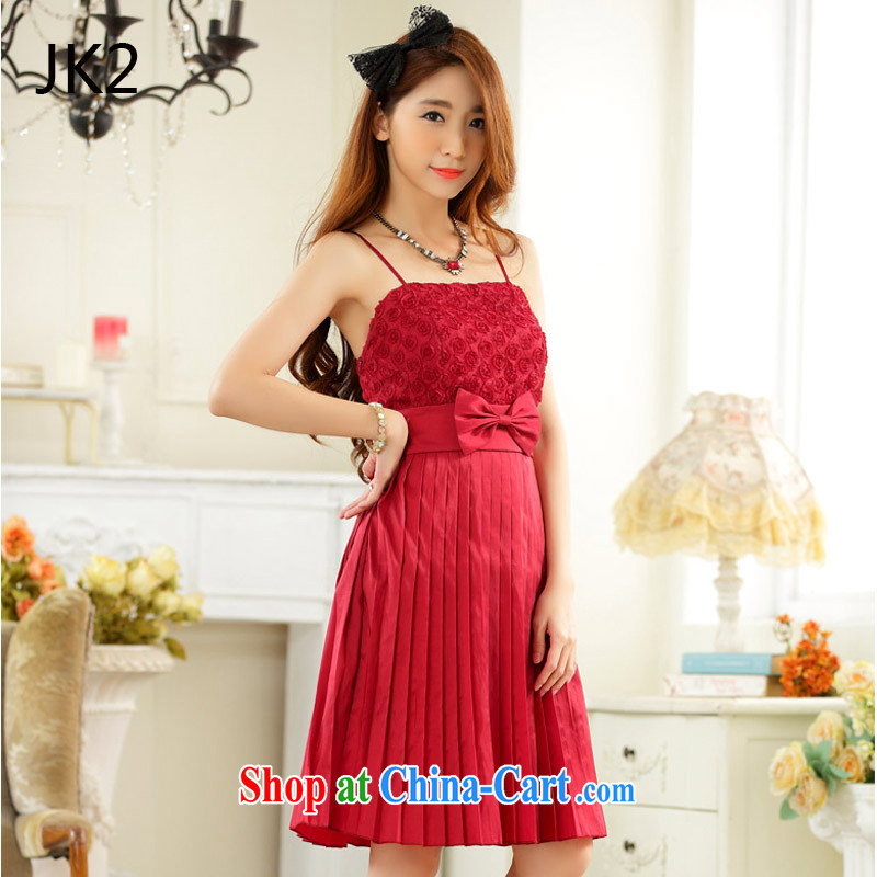 Boudoir honey private Web yarn pressure hem bare shoulders dress sister dress dress dress JK 2 9926 red XXXL