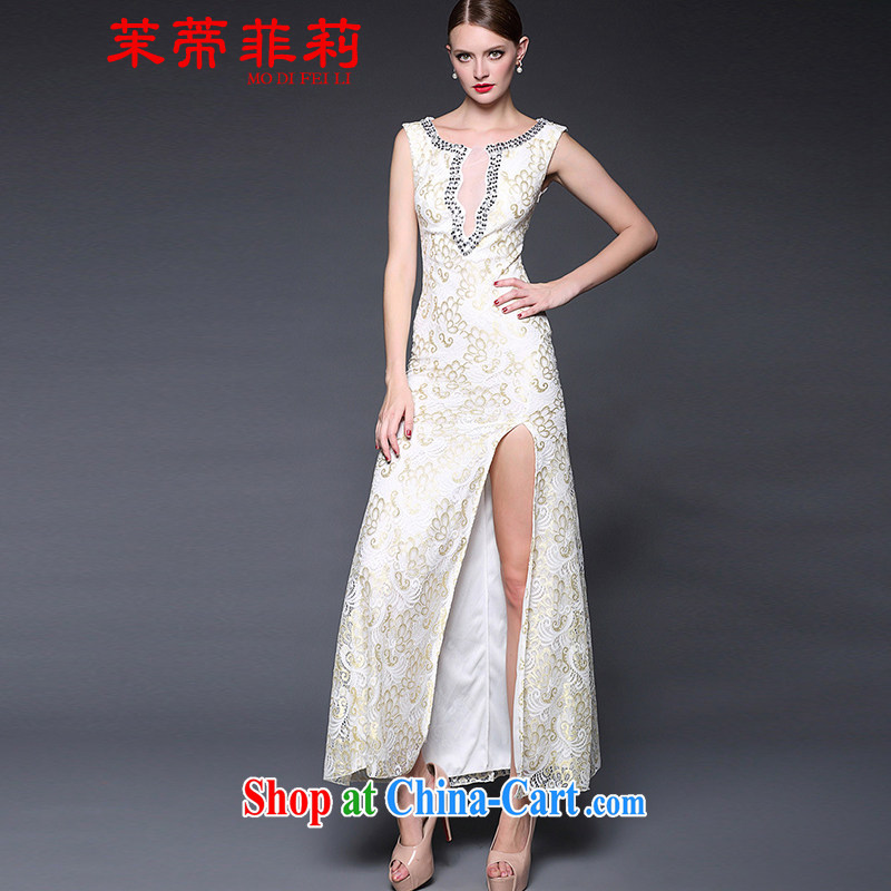 Energy Mr. Philip Li toasting service 2015 women in Europe and America with new sexy lace sleeveless open's long evening dress long skirt white are code