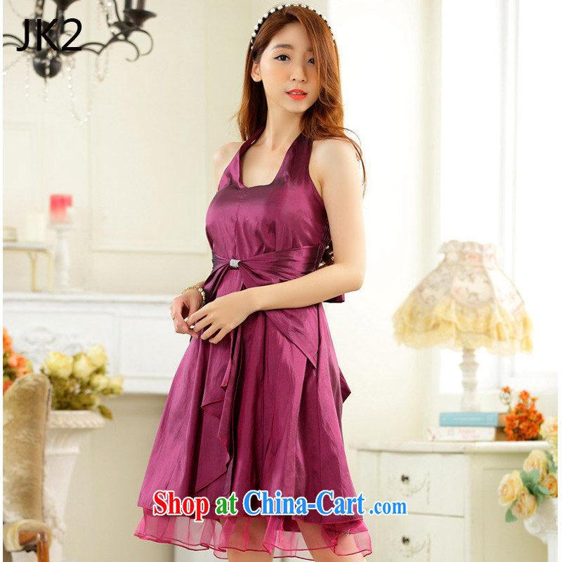 In short, thin waist must also tie-in dinner dress small dress dresses JK 2 9927 aubergine XXXL