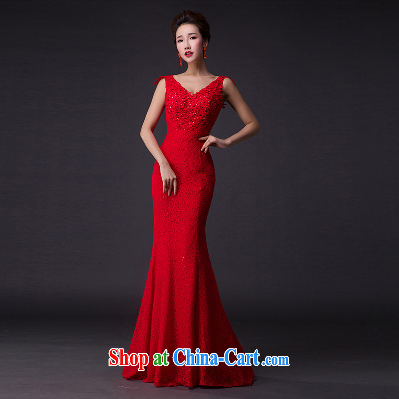 Hi Ka-hi 2015 new bows dress Korean crowsfoot double-shoulder dress V Annual Meeting for the banquet show dress skirt P 006 Chinese red XXL