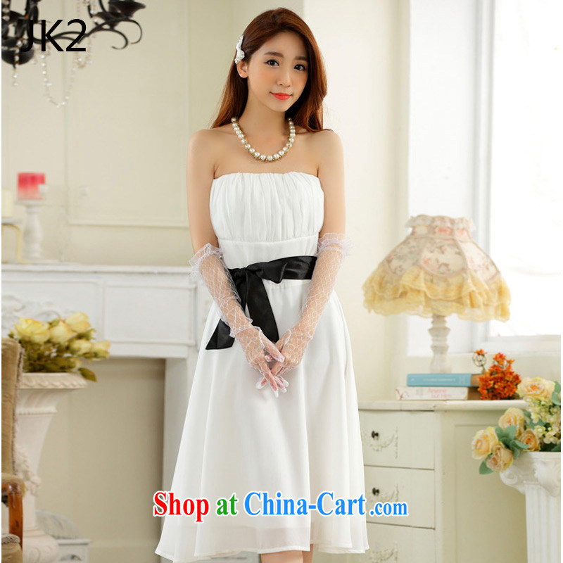 Minimalist style towel chest large collision color belt snow woven Dinner Show dress dresses JK 2 9930 white XXXL