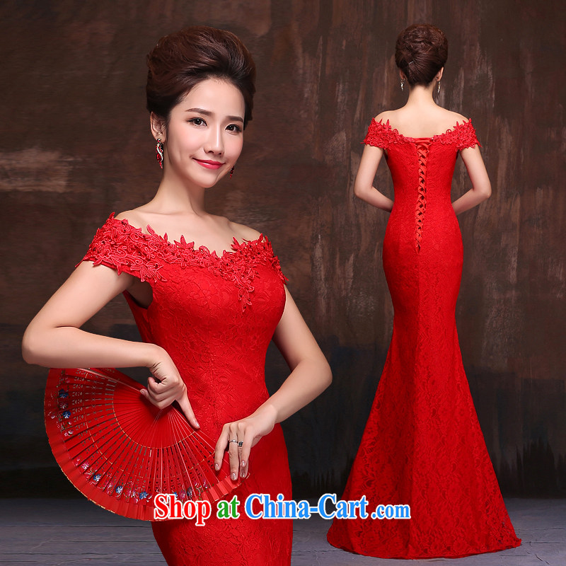 Love spell Fort summer 2015 New Red bridal wedding dresses at Merlion toast clothing lace a shoulder-length, strap with red XXL (93/77.