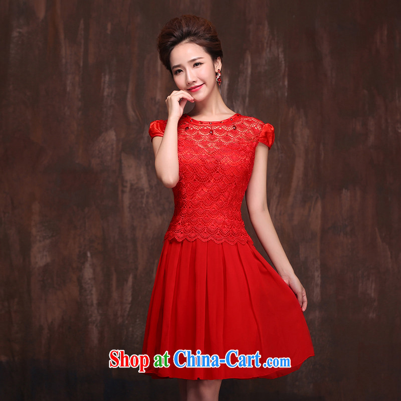 Love spell Fort Lauderdale wedding dresses new 2015 short, elegant lace a shoulder Princess short-sleeved toast serving red XXL (93/77.