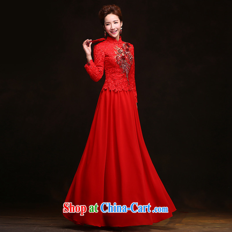 Love spell Fort spring 2015 new toast Service Bridal elegant red wedding dresses Long-Sleeve a shoulder-length, long-sleeved gown XXL (93/77.